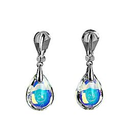 BACCARAT JEWELRY PSYDELIC CLIP-ON EARRINGS SILVER IRRIDESCENT NEW FRANCE NO BOX