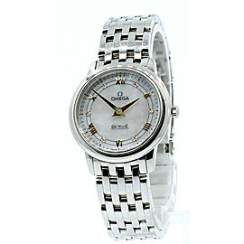 Omega DeVille Prestige White MOP Diamond Dial Roman Numbers Ladies Watch