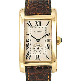 Cartier Tank Americaine 811904 Unisex Quartz Watch 18K YG Cream Dial 23mm