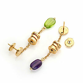Bvlgari B.zero1 Amethyst Peridot 18k Yellow Gold Drop Dangle Earrings