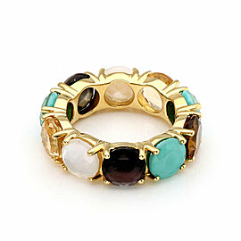 Ippolita Rock Candy Full Circle Multicolor Gems 18k Yellow Gold Band Ring Size 7