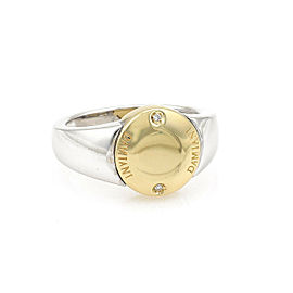 Damiani Diamond 18k Two Tone Gold Round Top Ring