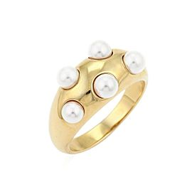 Mikimoto 5 Akoya Pearls 18k Yellow Gold Dome Band Ring