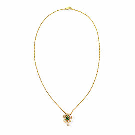 Graff Diamond & Emerald 18k Yellow Gold Flower Pendant & Rope Chain Necklace