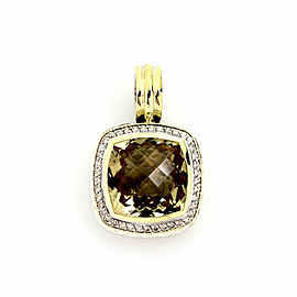David Yurman Albion Diamond & Citrine Sterling Silver 18k Yellow Gold Pendant Necklace