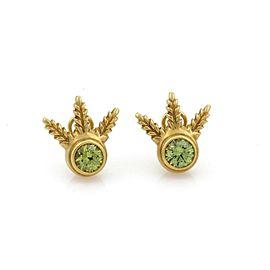 Elizabeth Rand Peridot 18k Yellow Gold Leaf Design Post Clip Earrings