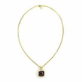 David Yurman Albion Diamond Citrine 18k Yellow Gold Cable Pendant & Chain