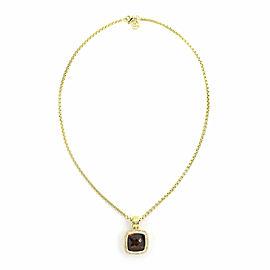 David Yurman Albion Diamond Citrine 18k Yellow Gold Cable Pendant & Chain