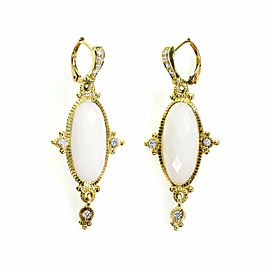Judith Ripka Diamond White Chalcedony 18k Yellow Gold Drop Dangle Earrings