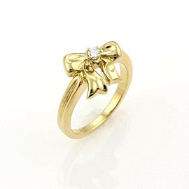 Tiffany & Co. Diamond Bow 18k Yellow Gold Ring - Size 5.5