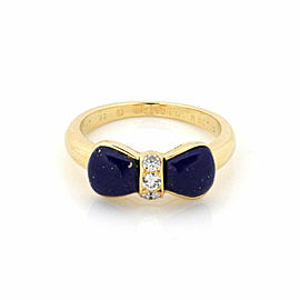 Van Cleef & Arpels Lapis & Diamond 18k Yellow Gold Bow Design Ring