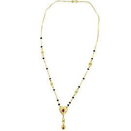 14k Yellow Gold Diamond Ruby Freeform Heart Necklace