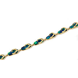 Blue Green Opal Inlay 8 Flip Flop Slipper 14k Yellow Gold Charm Bracelet