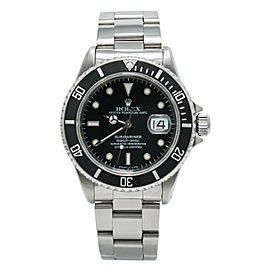 Rolex Submariner 16610 Date U Serial Men's Automatic Black Dial Watch SS 40mm