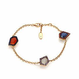 Valente Multicolor Agate & Sapphire Gems 18k Rose Gold Chain Bracelet