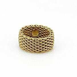 Tiffany & Co. Somerset 18k Yellow Gold 9.5mm Wide Mesh Chain Flex Band Ring