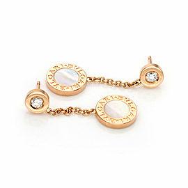 Bulgari Bulgari Diamond Mother of Pearl 18k Rose Gold Circle Dangle Earrings