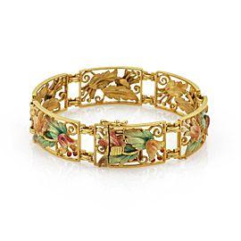 Masriera Enamel Plique a Jour 18k Gold Floral Link Bracelet