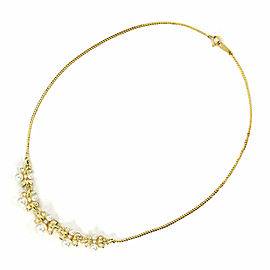 Mikimoto Diamond Akoya Pearls 18k Yellow Gold Floral Fancy Necklace