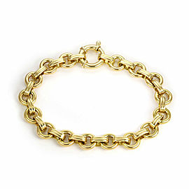 "Aaron Basha 18k Yellow Gold Round Chain Link Bracelet 7.25"" Long"