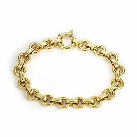 "Aaron Basha 18k Yellow Gold Round Chain Link Bracelet 7.25"" Long"