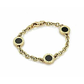 Bulgari Onyx Engraved 3 Circle Disc Charms 18k Yellow Gold Bracelet