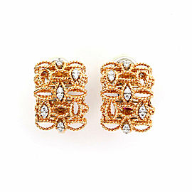 Roberto Coin Barocco Diamond 18k Rose Gold Fancy Leaf Design Post Clip Earrings