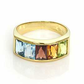 H.Stern Rainbow Multicolor Gemstones 18k Yellow Gold 7.5mm Band Ring Size 7
