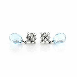 Tiffany & Co. Diamond Aquamarine Platinum Floral Dangle Earrings