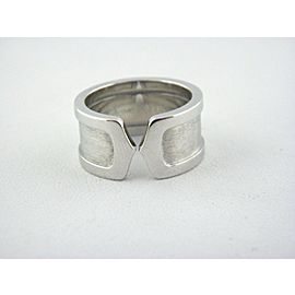 Logo De Cartier 18k White Gold Double-C Ring, Size 6.5