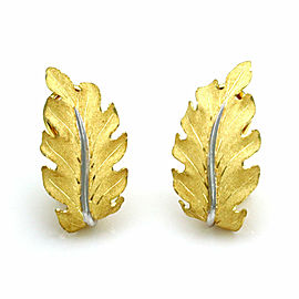 Buccellati 18k Two Tone Gold Textured Oak Leaf Post Clip Earrings