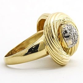 .50 Carat 18k Yellow Gold Diamond Pave Ball Statement Ring