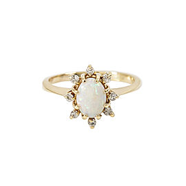 Vintage 14K Yellow Gold 0.5 Ct Opal 0.2 Ct J SI1 Diamond Ring 2.0 Grams Size 4.5