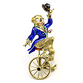 14k Yellow Gold Clown Riding a Unicycle Enamel Brooch