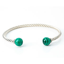 David Yurman 925 Sterling Silver Malachite Diamond Solari Bangle Bracelet Size M