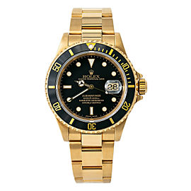 Rolex Submariner 16618 X-Serial Men Automatic Black Dial Watch 18k Gold 40mm