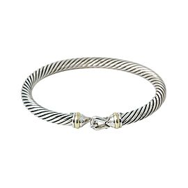 David Yurman 18K Yellow Gold 925 Sterling Silver Cable Bangle Bracelet 6.5""