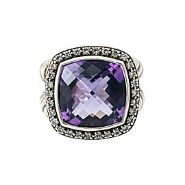 DAVID YURMAN 925 Sterling Silver Albion Amethyst Diamond Ring 16.6 Grams Size 6