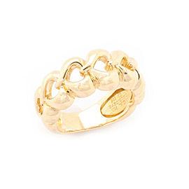 Van Cleef & Arpels 18k Yellow Gold 9mm Wide Open Hearts Ring