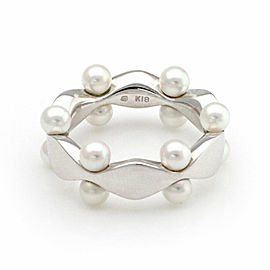 Mikimoto Akoya Pearls 18k White Gold Fancy Band Ring Size 4