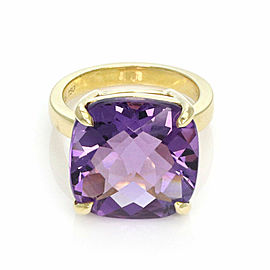 Tiffany & Co. Sparklers Amethyst Large Cushion 18k Yellow Gold Ring Size 4
