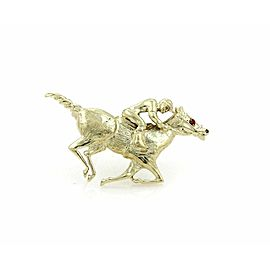 Estate Ruby Jockey & Race Horse 14k Yellow Gold Brooch Pin