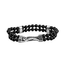 John Hardy Sterling Silver Classic Chain Double Row Onyx Bracelet 149B
