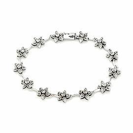 Floral Diamond 14k White Gold Link Bracelet
