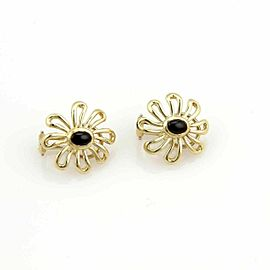 Tiffany & Co. Picasso Onyx 18k Yellow Gold Daisy Flower Earrings