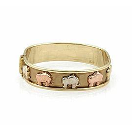 Wide 9k Tri Color Gold Carved Elephant Bracelet