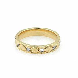 Chanel Matelasse Diamond 18k Yellow Gold Wedding Band Ring