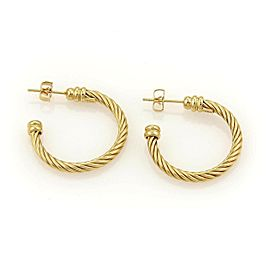 Charriol Twisted Wire Design 18k Yellow Gold Hoop Earrings