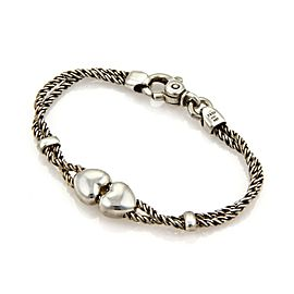 Tiffany & Co. Hearts Double Cable Slide Rope Sterling Silver Bracelet