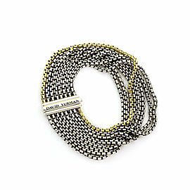 David Yurman Seven Row Sterling Silver & 18k Gold Chain Bracelet